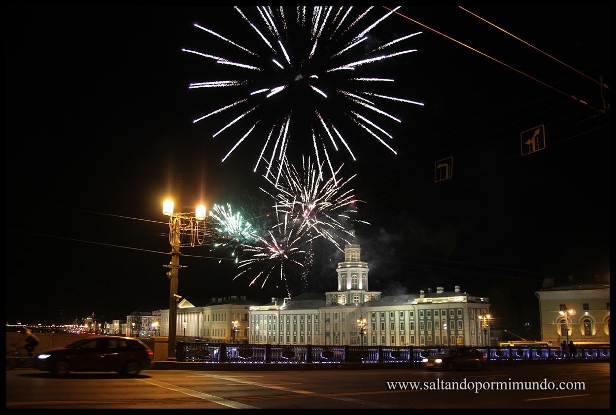 Fuegos artificiales en San Petersburgo.